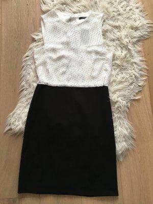 Mango MNG Etuikleid Businesskleid Kleid schwarz weiß Gr. S neu