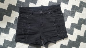 Mango MNG Jeans-Shorts 38 Schwarz ripped denim Risse