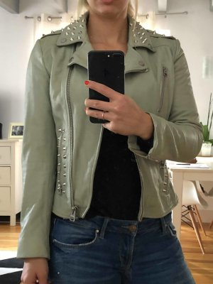 Mango Leather Jacket multicolored leather
