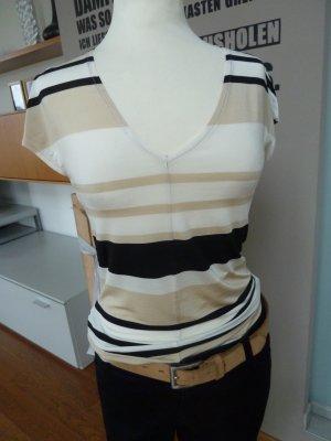 Mango MNG Streifenshirt bügelfrei - fließend Stretch schwarz-creme Gr S/M