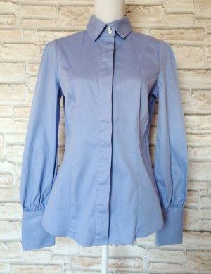 Mango MNG Suits Bluse versteckte Knopfleiste hellblau hochwertig