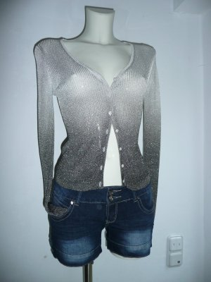 Mango MNG tricot Cardigan im feinen Rippstrick Silber Schwarz Gr M 36