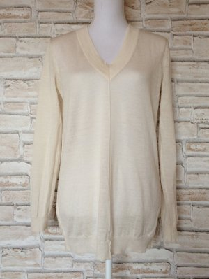 Mango MNG Wollpullover Pulli Pullover leicht dünn beige creme V-Ausschnitt