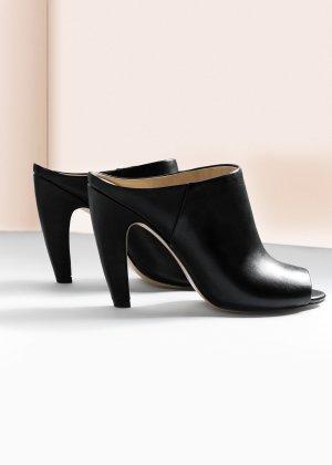 Mango Mules echtes Leder Pumps Peep Toes Sandalen Absatz gebogen 38 schwarz