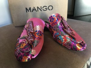 Mango Mules Slipper Flats pink Satin Print Loafer Muster Pfeil Blitz Strass 38 Blogger