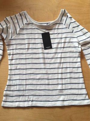 Mango Basics Maglietta a righe bianco sporco-blu scuro