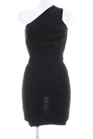 Mango Vestido de un hombro negro estampado a rayas elegante