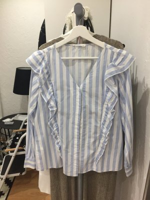 Mango Oversize Bluse mit Streifen und Volants