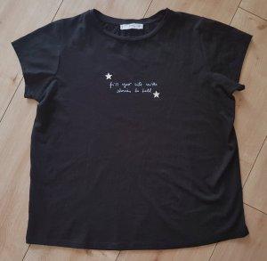Mango Oversize Shirt Tshirt Sterne Spruch Sommer Chic Elegant Party Schwarz Black S 36
