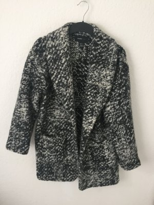 Mango Oversized Jacket black-white polyester