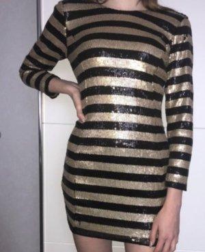 Mango Vestido de lentejuelas negro-color oro