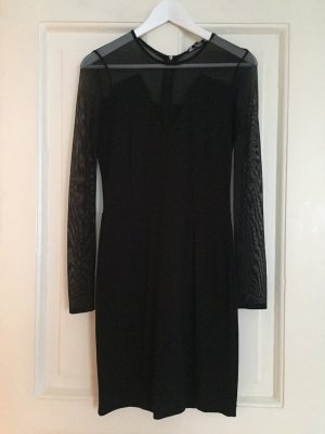 MANGO Partykleid Kleid Minikleid Langarmkleid schwarz Transparenz - S