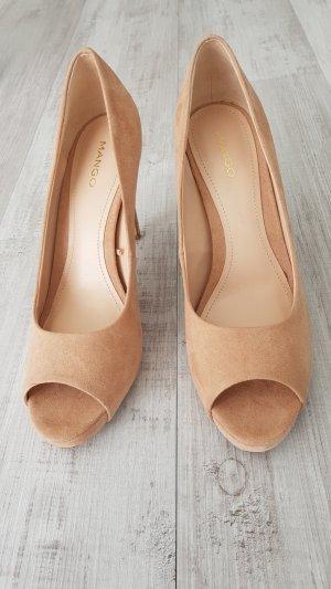 Mango Peep Toe High Heels nude-NEU