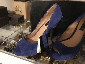 Mango Peeptoes Pumps Blau Wildleder Echtes Leder