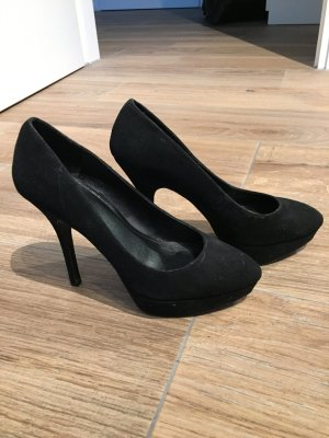 Mango Plateauzool pumps zwart