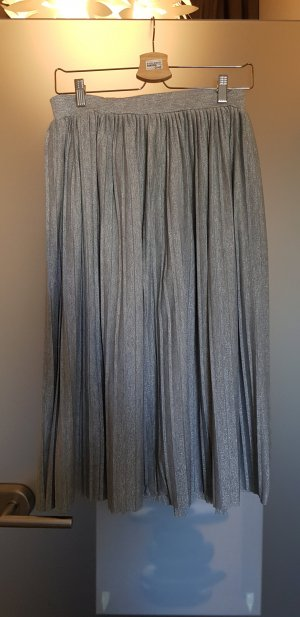 Mango Pleated Skirt silver-colored-light grey