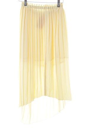 Mango Geplooide rok lichtgeel simpele stijl