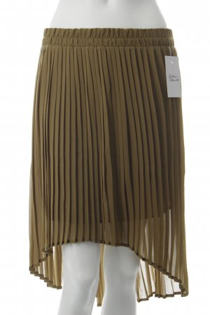 Mango Pleated Skirt olive green polyester
