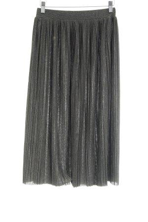 Mango Geplooide rok zwart-goud elegant
