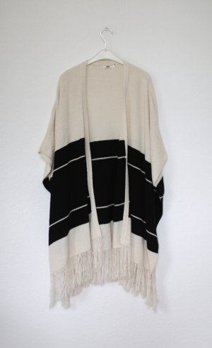 Mango Poncho Kimono Nude schwarz gestreift Onesize Oversized Mantel