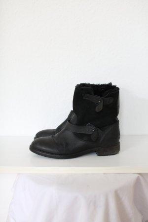 Mango Premium Boots Stiefel Ankle Booties Echtes Leder Pirate Look Gr. 38 Schwarz