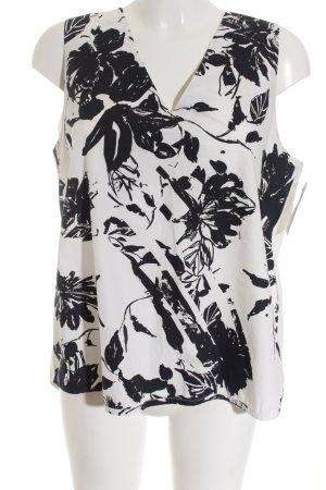 Mango Premium Hemd-Bluse schwarz-weiß Blumenmuster Business-Look