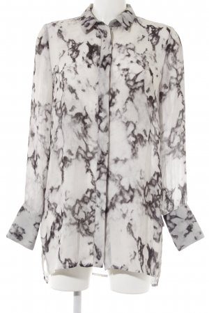Mango Premium Oversized blouse lichtgrijs-antraciet batik patroon