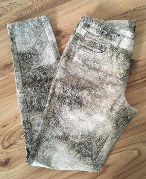 Mango Print Muster Hose XS 34 Slim Fit Skinny Jeans Khaki Nude Creme Röhrenhose Röhrenjeans