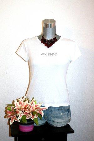 Mango Print Shirt gr. 38/40 Statement Weiß Basic