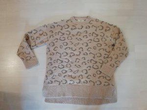 Mango Pulli Pullover Knit Strick Nude Leo Animal Lurex