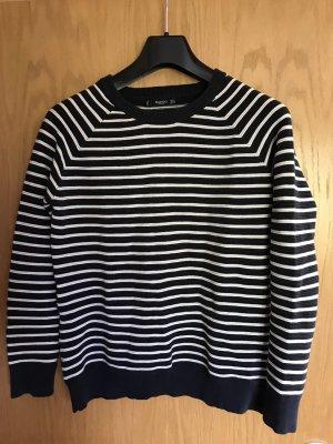 Mango Crewneck Sweater white-dark blue