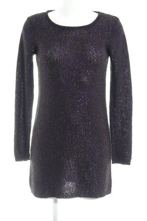 Mango Pulloverkleid schwarz-dunkelviolett meliert Casual-Look
