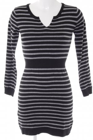 Mango Sweater Dress black-light grey striped pattern casual look