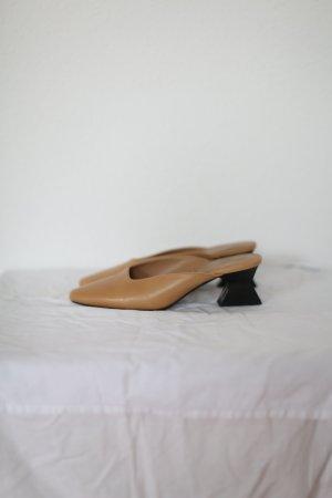 Mango Pumps Schuhe Vintage Leder beige Blogger Gr. 38