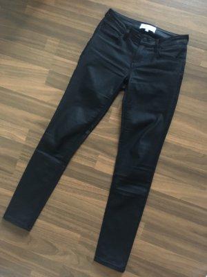 MANGO Push Up Jeans Kim Hose schwarz coated beschichtet glänzend Lederhose Fakeleder Gr. 34