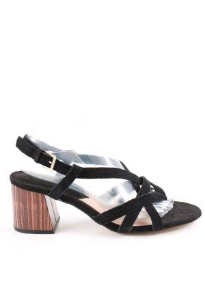 Mango Riemchen-Sandaletten schwarz-braun Casual-Look
