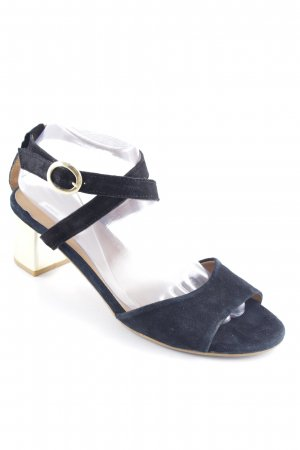 Mango Strapped High-Heeled Sandals black-gold-colored elegant