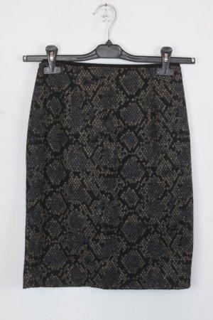 Mango Rock Bleistiftrock Gr. XS schwarz/beige/grau mit Schlangenhaut_optik