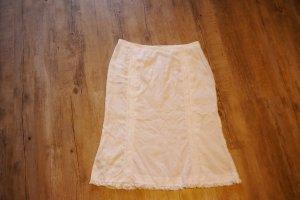 Mango Falda de lino blanco ramio