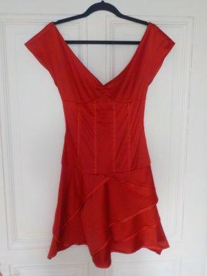Mango rotes glänzendes Kleid