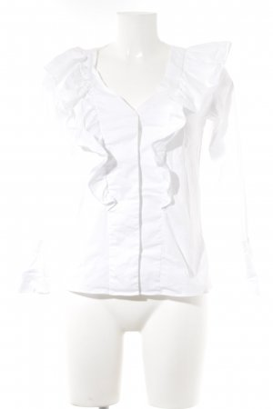 Mango Ruche blouse wit Webpatroon casual uitstraling