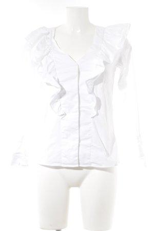 Mango Rüschen-Bluse weiß Webmuster Casual-Look