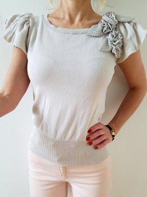 Mango Rüschen Pullover XXS XS 32 34 nude Volant Strickpulli Pulli Oberteil Bluse Tunika Shirt Top