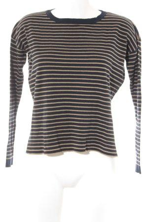 Mango Rundhalspullover beige-dunkelblau Streifenmuster Casual-Look