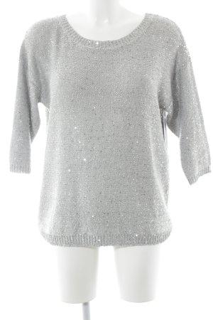 Mango Crewneck Sweater light grey glittery