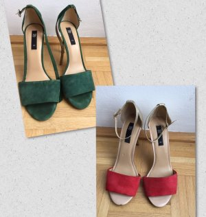 Zara Sandals forest green-red leather