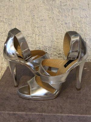 Mango Sandaletten high Heels Silber