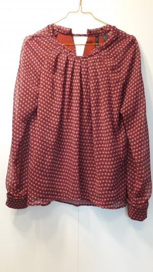Mango schicke Bluse gemustert dunkelrot schwarz weiß Raffung Gr. XS