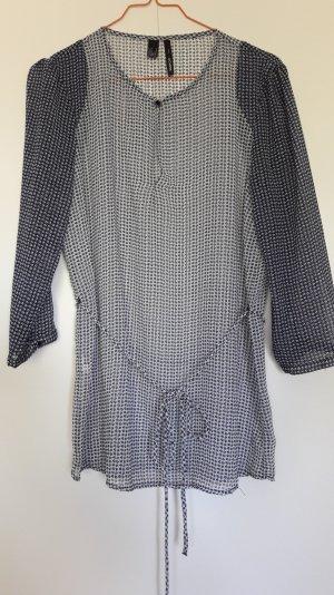 Mango schicke Tunika Bluse semitransparent dunkelblau weiß mit Bindeband Gr. S