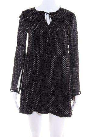 Mango Schlupf-Bluse schwarz-weiß Punktemuster Casual-Look